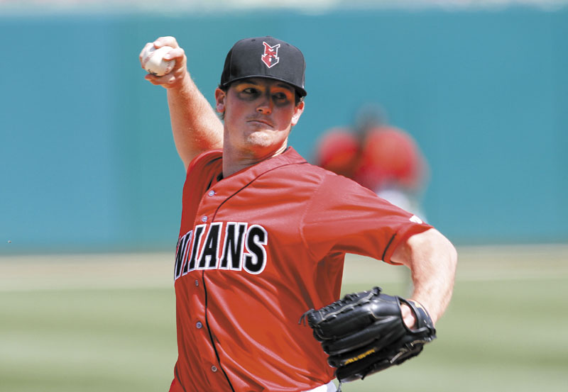 GETTING A CHANCE: Deering High School graduate Ryan Reid, shown here pitching for Indianapolis Indians, made seven appearances for the Pittsburgh Pirates when he was called up in June.