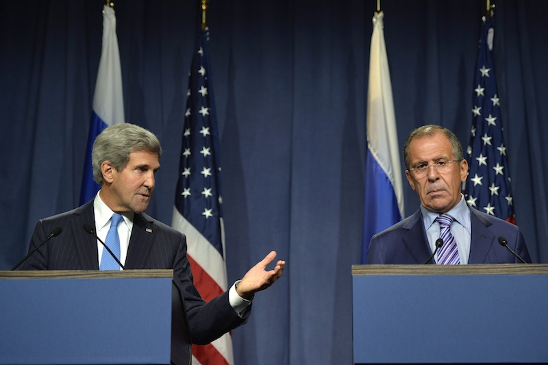 U.S. Secretary of State John Kerry speaks next to Russian Foreign Minister Sergey Lavrov, right, during a press conference before their meeting to discuss the ongoing crisis in Syria, in Geneva, Switzerland, Thursday Sept. 12, 2013. Secretary of State John Kerry and his team have opened two days of meetings with their Russian counterparts in Geneva. Kerry is hoping to come away with the outlines of a plan for securing and destroying vast stockpiles of Syrian chemical weapons. (AP Photo/Keystone, Martial Trezzini)