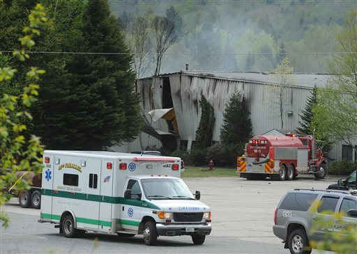 Emergency crews respond to an explosion at the Black Mag factory plant, in Colebrook, N.H., on May 10, 2010. Jesse Kennett and Dinald Kendall were killed during the explosion at the plant. The owner of the gunpowder factory, Craig Sanborn of Maidstone, Vt., is scheduled to go on trial for negligence. Sanborn of was indicted last year on two counts of manslaughter and two counts of negligent homicide.