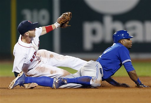 Boston Red Sox's Stephen Drew, left, and Toronto Blue Jays' Rajai Davis look for the call after Davis was caught stealing second base in the sixth inning of a baseball game in Boston, Saturday.