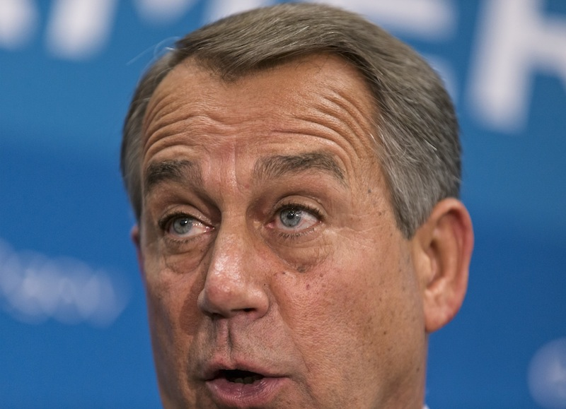 """Speaker of the House John Boehner, R-Ohio, and GOP leaders speak to reporters after a closed-door strategy session at the Capitol in Washington, Thursday, Sept. 26, 2013. Pressure is building on fractious Republicans over legislation to prevent a partial government shutdown, as the Democratic-led Senate is expected to strip a tea party-backed plan to defund the Affordable Care Act, popularly known as """"Obamacare,"""" from their bill. Boehner originally preferred a plan to deliver to President Obama a stopgap funding bill without the provision to eliminate the health care law. (AP Photo/J. Scott Applewhite)"""