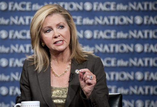 """This image provided by CBS News shows Rep. Marsha Blackburn, R-Tenn., speaking with Bob Schieffer on """"Face the Nation"""" Sunday in Washington. The United States braced for a partial government shutdown Tuesday after the White House and congressional Democrats declared they would reject a bill approved by the Republican-led House to delay implementing President Barack Obama's health care reform."""