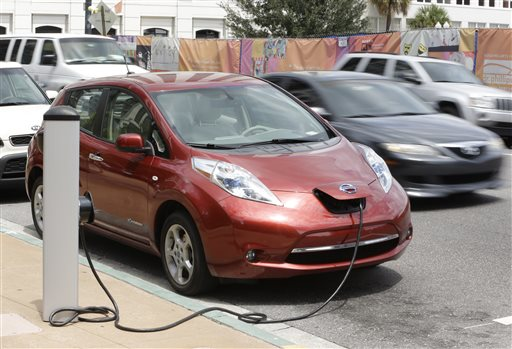An electric car gets a recharge in front of city hall in Orlando, Fla., on Wednesday. Orlando has more than 300 charging stations in the area.