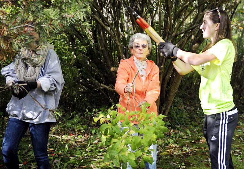 Hall-Dale High School students Shanay Gilbert, right, and Anna Harrigan help Dresden homeowner Doris Swasey clip a bush today during the school's Day of Caring. Students were dispatched to help elderly residents clean up and repair their homes as part of the annual event.