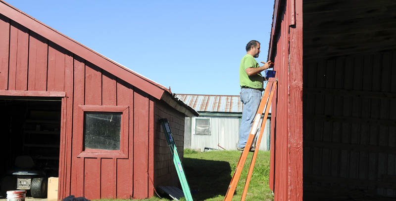 """Eric Dickerson applies a coat of paint Thursday to an out building at O'Donnell's Farm in Monmouth. Dickerson said the weather conditions and forecast were perfect for touching up the barn and other structures at the organic beef farm. """"It's going to be so beautiful, it looks like we're going to get it done soon,"""" Dickerson said."""