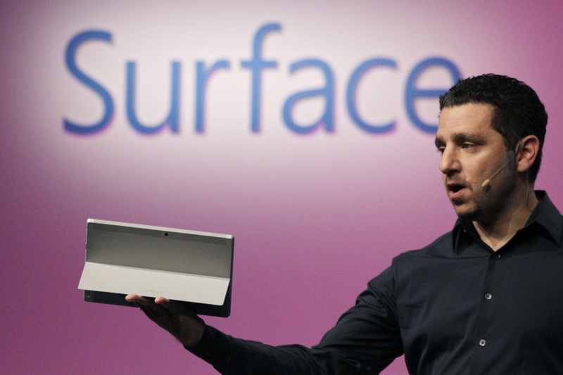 Panos Panay, corporate vice president of Microsoft, introduces a Surface 2 tablet with an integrated kickstand on Monday in New York. Microsoft says the Pro 2 also offers a 75 percent improvement in battery life over the previous model.