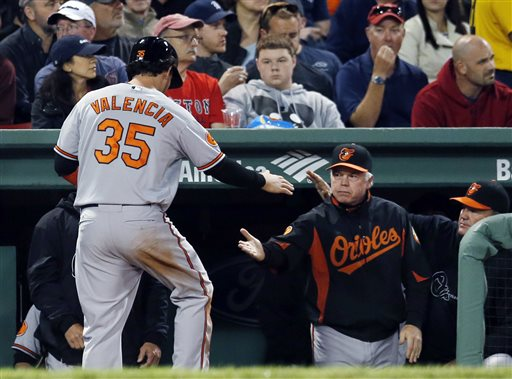 Baltimore Orioles designated hitter Danny Valencia (35) slaps hands with Orioles manager Buck Showalter after scoring on a double by Matt Wieters in the fifth inning of a baseball game against the Boston Red Sox at Fenway Park in Boston, Wednesday, Sept. 18, 2013. (AP Photo/Elise Amendola) Fenway Park