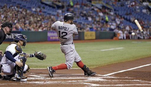 Boston Red Sox's Mike Napoli, right, breaks his bat as he grounds out while Tampa Bay Rays catcher Jose Lobaton, center, watches during the first inning of a baseball game on Thursday, Sept. 12, 2013, in St. Petersburg, Fla. (AP Photo/Chris O'Meara) Tropicana Field