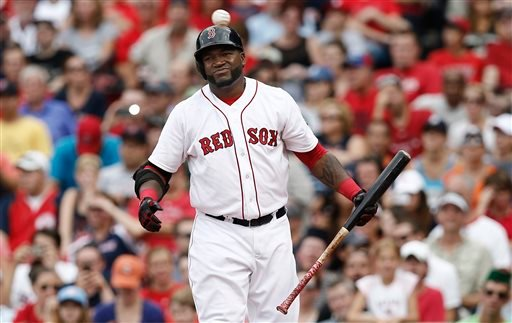 Boston Red Sox designated hitter David Ortiz steps back after swing and missing at a pitch as the ball goes back to the pitcher during the eighth inning of their 3-0 loss to the Detroit Tigers on Monday at Fenway Park in Boston.