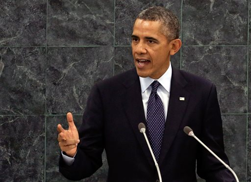 U.S. President Barack Obama addresses the 68th session of the United Nations General Assembly on Tuesday.