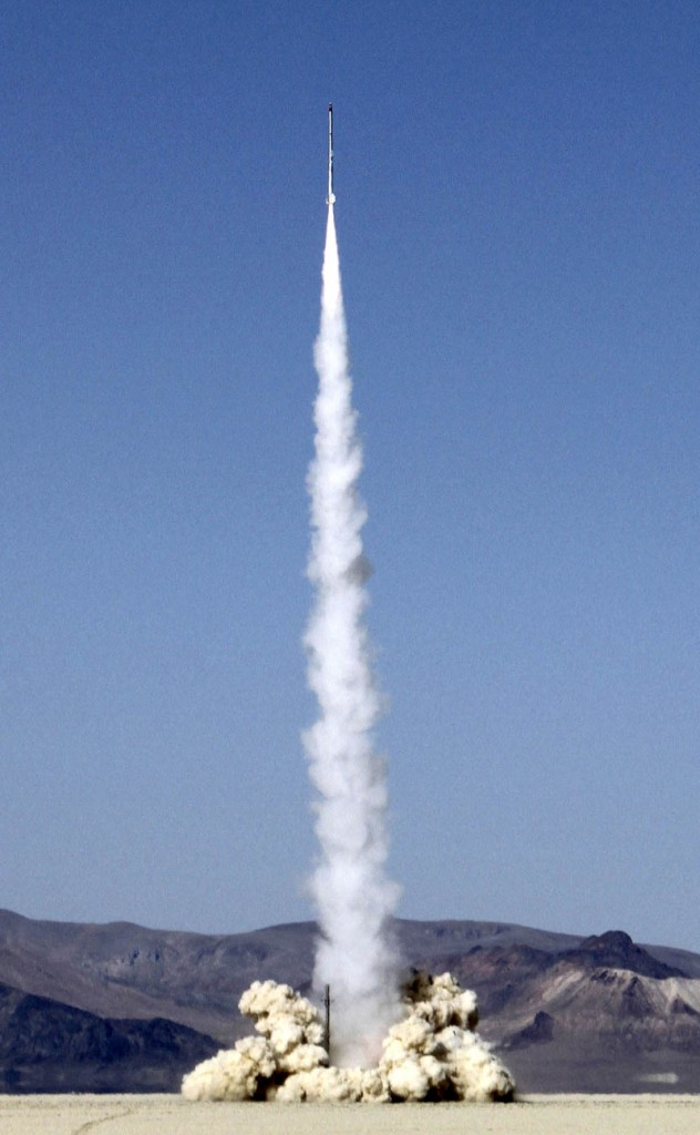 The Delta P rocket lifts off in Nevada on Monday.