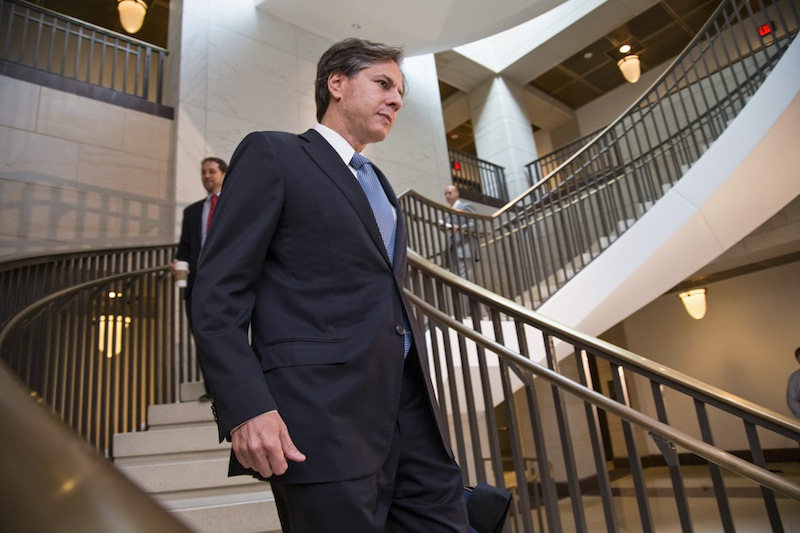 Deputy National Security Adviser Tony Blinken walks to an underground facility to brief lawmakers on the situation in Syria, Wednesday, Sept. 11, 2013, on Capitol Hill in Washington. Last night, President Obama delivered a nationally televised address on the use of chemical weapons in the Syrian civil war and why he wants to punish the government of Syrian President Bashar Assad. (AP Photo/J. Scott Applewhite)