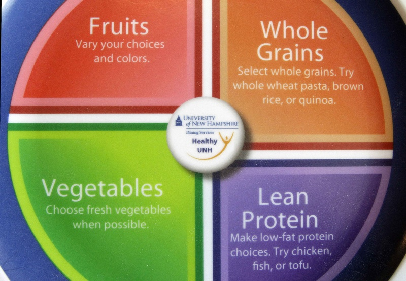Wildcat Plates, used at the University of New Hampshire dining hall in Durham, N.H., describe healthy foods. The plates are printed with dietary guidelines in hopes students will choose healthier eating habits.
