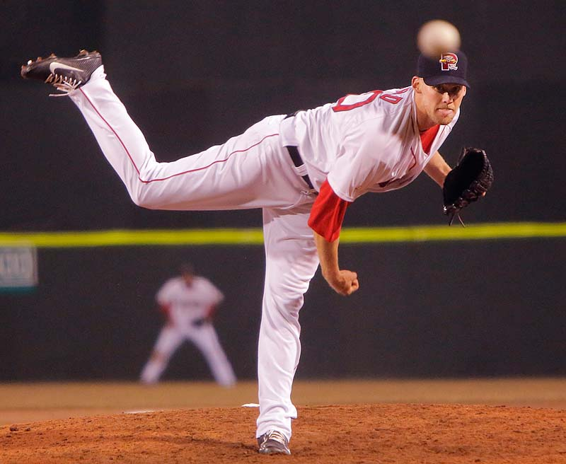 Former Red Sox reliever Daniel Bard pitches for the Sea Dogs in April at Hadlock Field. Bard was designated for assignment by the Red Sox on Sunday.