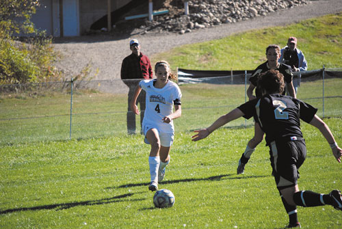 HAVING FUN: Waterville Senior High School graduate Kayla Tuttle (4) returns for her senior season at the University of Maine at Farmington. Tuttle led the Beavers in scoring last season with 13 goals and four assists.