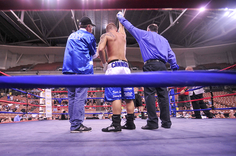 "Brandon ""The Cannon"" Berry defeated Jesus Javier Cintron 47 seconds in to the third round by disqualification for low blows by Cintron at the 12th annual Fight to Educate boxing show at the Verizon Wireless Arena in Manchester, NH., on Thursday."
