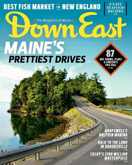 The cover of the September issue of Down East magazine shows the scenic drive over the bridge to Orr's Island – without utility wires.