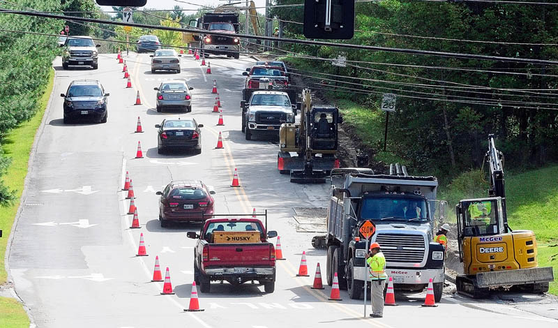 Natural gas pipeline construction continues on Townsend Road at the corner of Civic Center Driver on Thursday in Augusta.