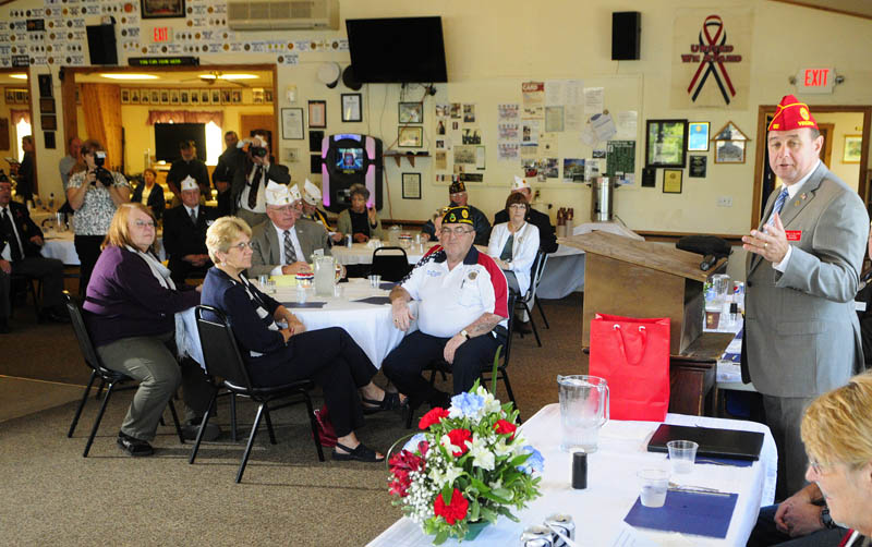 American Legion National Commander Daniel Dellinger speaks on Saturday during a visit to the Alfred Maxwell Jr. Post 40 in Winthrop.