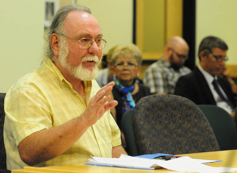 Jim Betts, a retired state Department of Labor employee, testifies on Thursday during a meeting of the Unemployment Reform Blue Ribbon Commission in the Cross State Office Building in Augusta.