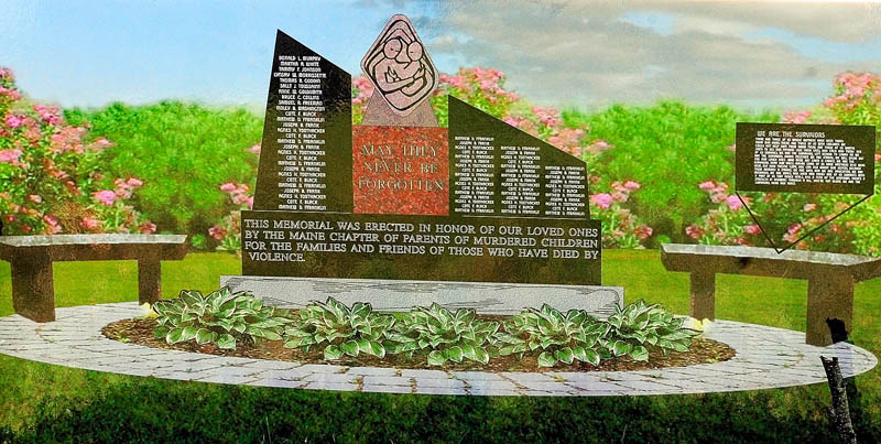 A drawing of the planned monument is displayed during the groundbreaking ceremony for the Maine chapter of Parents of Murdered Children's monument today in Holy Family Cemetery in Augusta.