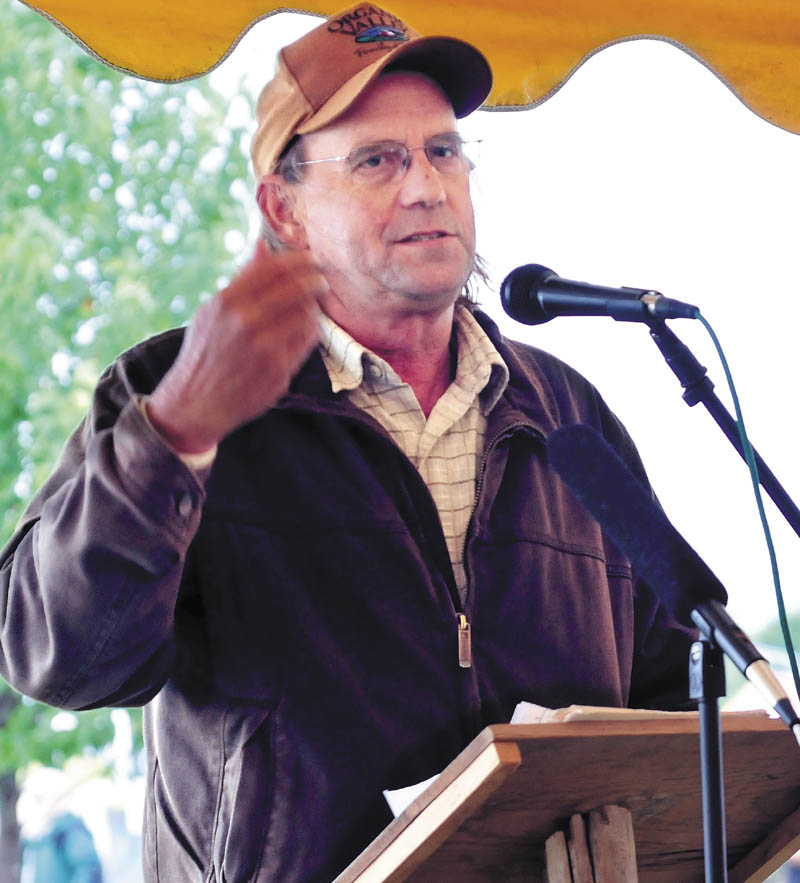 George Siemon, cofounder of Organic Valley, a farmer-owned cooperative that includes 1,834 farms, was the keynote speaker at the Common Ground Country Fair in Unity today.