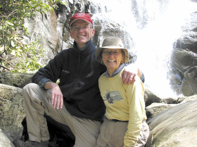 George Largay and his wife, Geraldine, at the Ramsey Cascades in Great Smoky Mountains National Park, which straddles the borders of Tennessee and North Carolina. Geraldine Largay has been missing since July from a portion of the Appalachian Trail between Route 4 near Rangeley and Route 27 in Wyman Township.