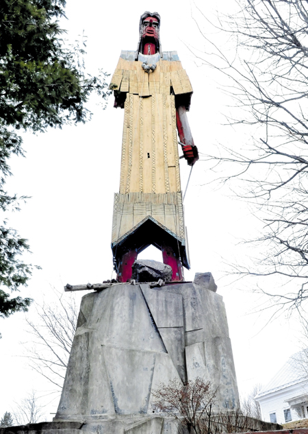 The Skowhegan Indian landmark sculpture in downtown is to be renovated as part of a $65,000 downtown improvement project.