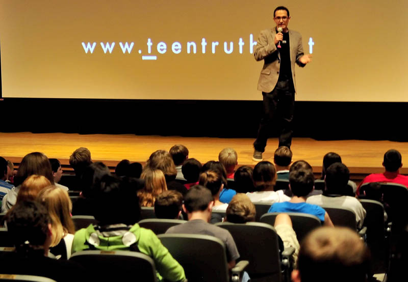 Presenter Erahm Christopher of Teen Truth delivers his anti-bullying message to Mt. View Middle School students in Thorndike today.