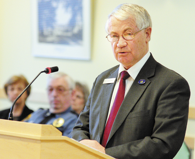 Rep. L. Gary Knight, R-Livermore Falls, introduces a bill to allow Livermore Falls to join Franklin County during a hearing on March 13. The choice to move the town from Androscoggin County to Franklin County is up to voters in November,