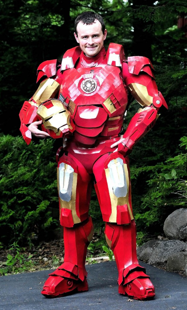Tom Lemieux, of Oakland, wears the Iron Man suit he created.