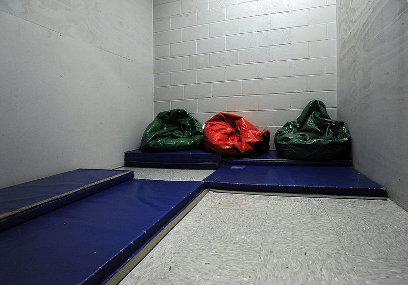 """This """"Thinking Room"""" at an elementary school in Southern Maine has bean bag chairs and mats for problem kids to sit in seclusion and think about their behavior, according to the school's principal. Maine schools reported that more than 850 students were physically restrained and hundreds were placed in seclusion in the last year, according to the first statewide data on the sometimes controversial methods that schools use to handle out-of-control students."""