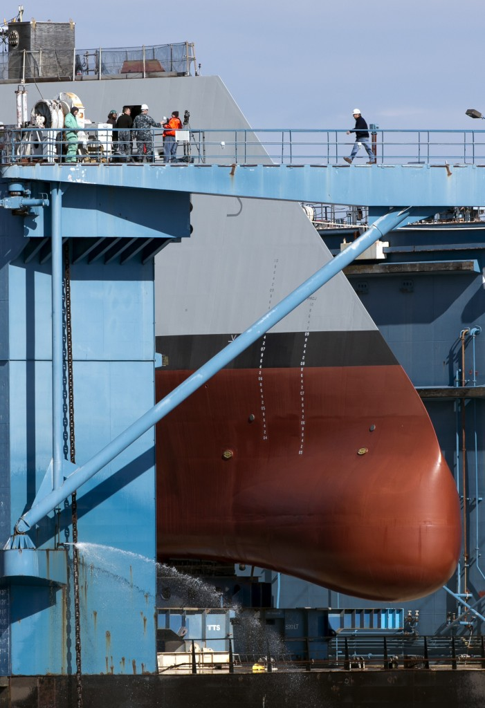 Like a giant nose, the forward hull body of the first-in-class Zumwalt, the largest U.S. Navy destroyer ever built, is seen in dry dock Monday in Bath. Unlike warships with towering radar- and antenna-laden superstructures, the Zumwalt will ride low to the water to minimize its radar signature, making it stealthier than others.