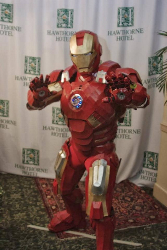 winner: Oakland resident Thomas Lemieux shows off his costume at the Hawthorne Hotel's Halloween ball on Saturday. Lemieux won first place for his Iron Man suit, which he spent hundreds of hours and thousands of dollars to complete.