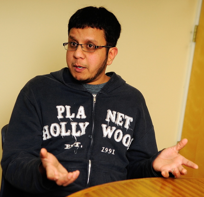 Organizer: Ather Mohammed talks about a proposed mosque in Augusta today during an interview at Kennebec Journal in Augusta.