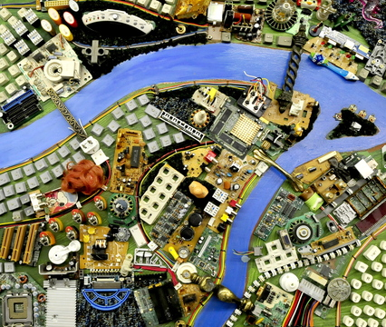 """CITYSCAPE: A close-up of some of the intricate detail of """"City of Dreams"""" art by Wally Warren."""