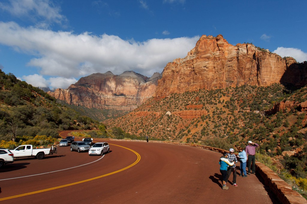 Visitors to Zion National Park take in the sights after the park opened on a limited basis Friday, Oct. 11, 2013 near Springdale, Utah. Earlier Thursday, the Obama administration said it would allow states to use their own money to reopen some national parks after a handful of governors made the request. Utah Gov. Gary Herbert said Thursday he reached an agreement to pay $166,000 a day to the Interior Department to open Utah's five national parks, while Arizona Gov. Jan Brewer says she'd consider paying for a partial reopening of Grand Canyon National Park.