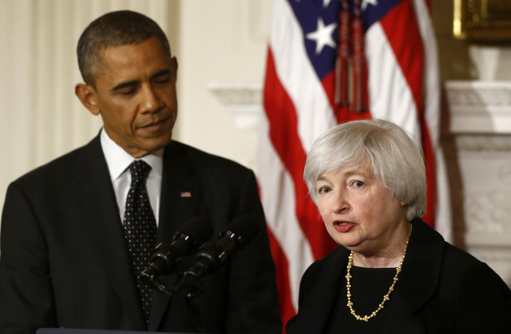 President Barack Obama listens as Janet Yellen, vice chair of the board of governors of the Federal Reserve System, speaks at the White House in Washington on Wednesday, when the president announced he is nominating Yellen to chair the Federal Reserve, succeeding Ben Bernanke.