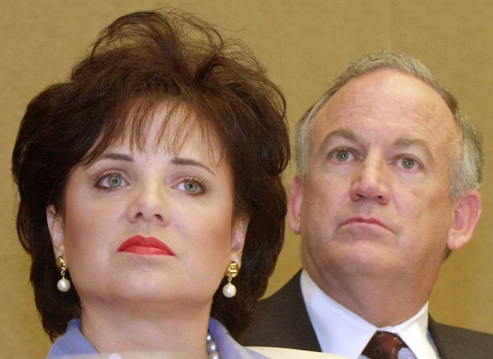 In this May 24, 2000, photo, Patsy Ramsey and her husband, John, parents of JonBenet Ramsey, appear at a news conference in Atlanta regarding their lie-detector examinations for the murder of their daughter, 6-year-old JonBenet Ramsey. Patsy Ramsey died in 2006.