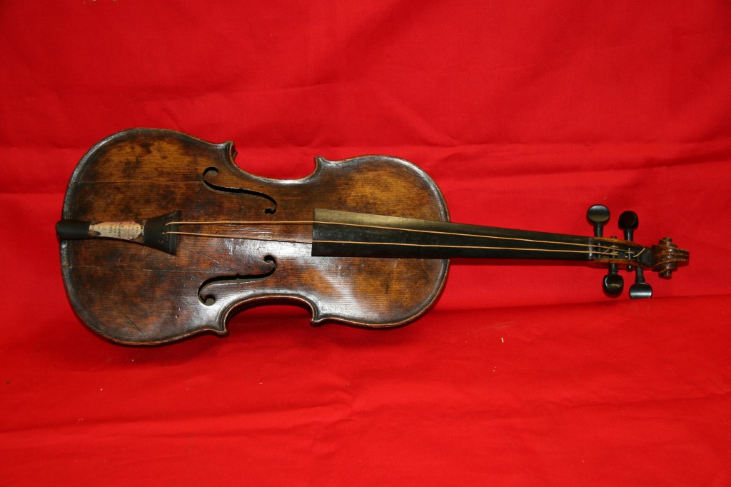 An undated handout image from auction house Henry Aldridge and Son made available on Friday shows a violin believed to be the one played by Titanic bandmaster Wallace Hartley.