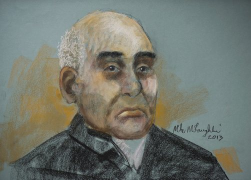 An artist's sketch shows 71-year old Antony Piazza during a court appearance in Montreal, Monday, Oct. 28, 2013. Piazza, a 71-year-old Iranian-born man with a legally changed name faces three criminal charges in connection with an alleged attempt to bring explosive material onto an airplane.
