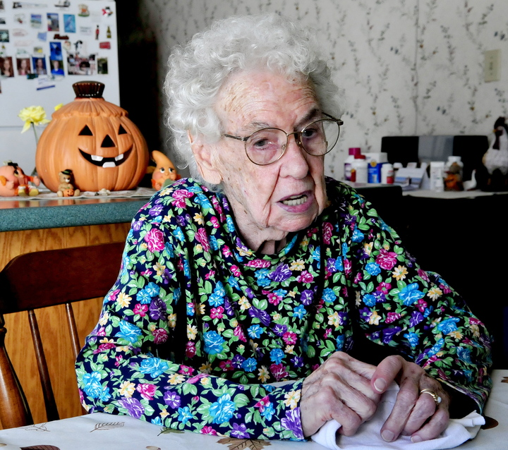 SCARY BIRTHDAY: Leola Roberts, of Oakland, speaks fondly about having her birthday fall on Halloween, especially this year, when she turns 100.