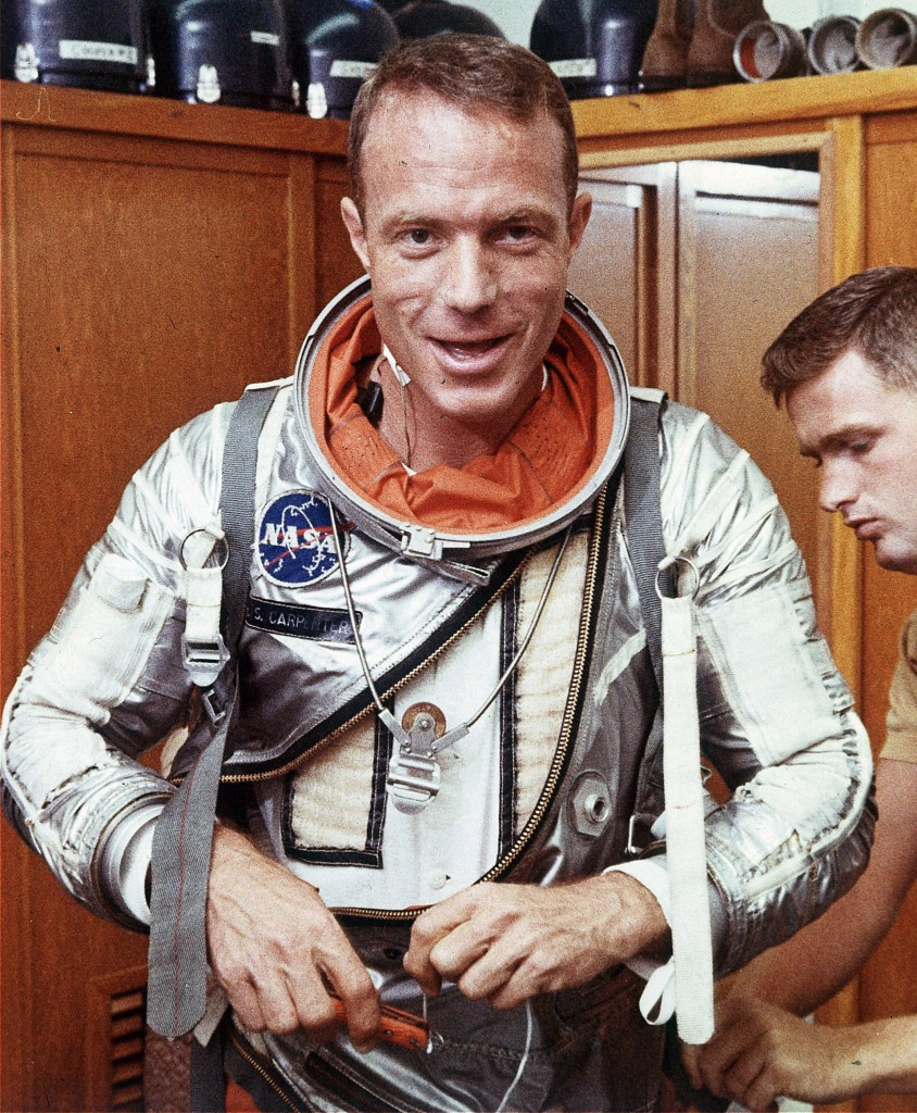 Astronaut Scott Carpenter has his space suit adjusted in Cape Canaveral, Fla. Carpenter, the second American to orbit the Earth and one of the last surviving original Mercury 7 astronauts, died Thursday.