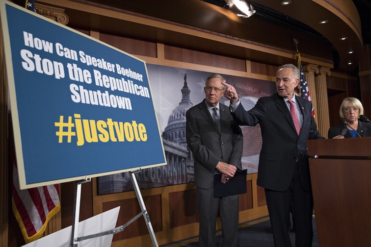 From left Senate Majority Leader Harry Reid, D-Nev., Sen. Chuck Schumer, D-N.Y., and Sen. Patty Murray, D-Wash., chair of the Senate Budget Committee, tell reporters that Speaker of the House John Boehner, R-Ohio, and House Republicans are the obstacle to ending the government shutdown crisis, at the Capitol in Washington, Thursday, Oct. 3, 2013. President Barack Obama brought congressional leaders to the White House on Wednesday for the first time since a partial government shutdown began, but there was no sign of progress toward ending an impasse that has idled 800,000 federal workers and curbed services around the country.