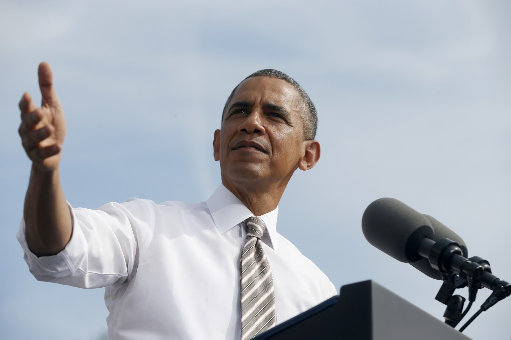 President Barack Obama speaks about the government shutdown and debt ceiling Thursday during a visit to to M. Luis Construction, which specializes in asphalt manufacturing, concrete paving, and roadway reconstruction, in Rockville, Md.