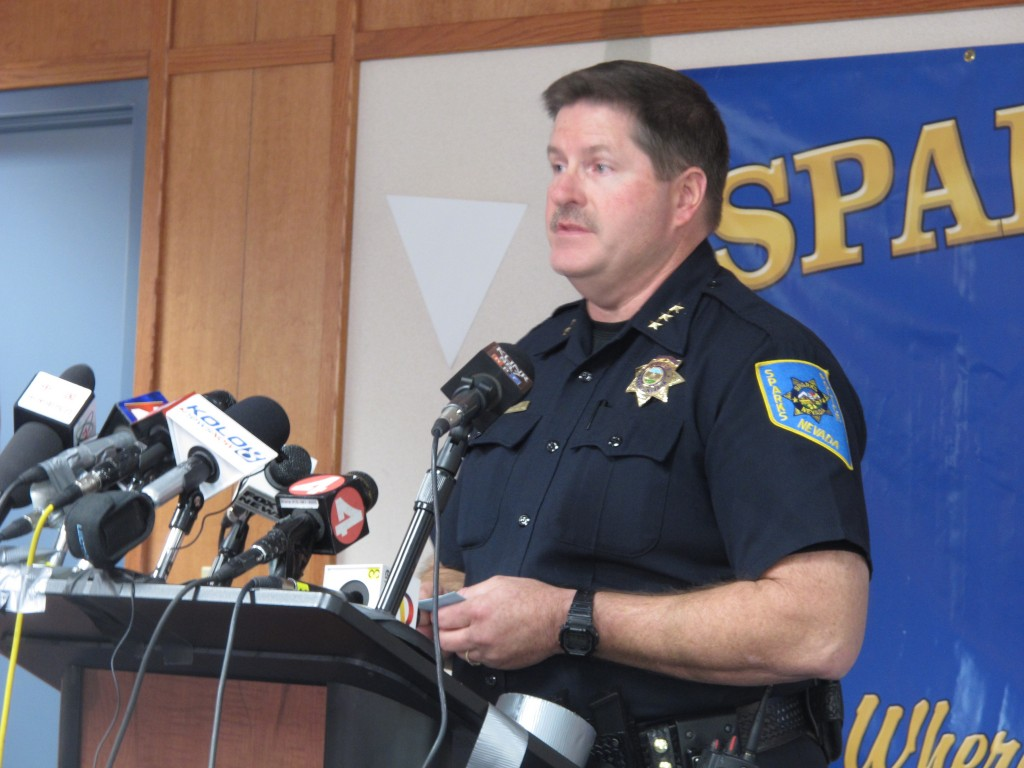 """Sparks Deputy Police Chief Tom Miller addresses reporters during a news briefing Tuesday. """"Everybody wants to know why – that's the big question,"""" Miller said. """"The answer is, we don't know right now."""""""