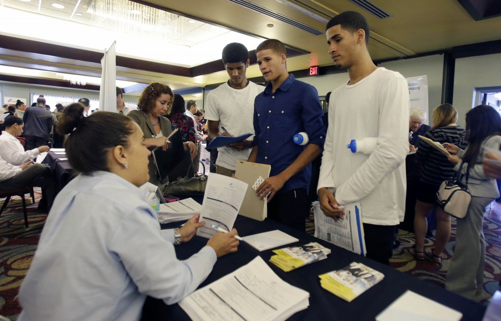 Unemployed job seekers at a job fair in Florida. AP Photo