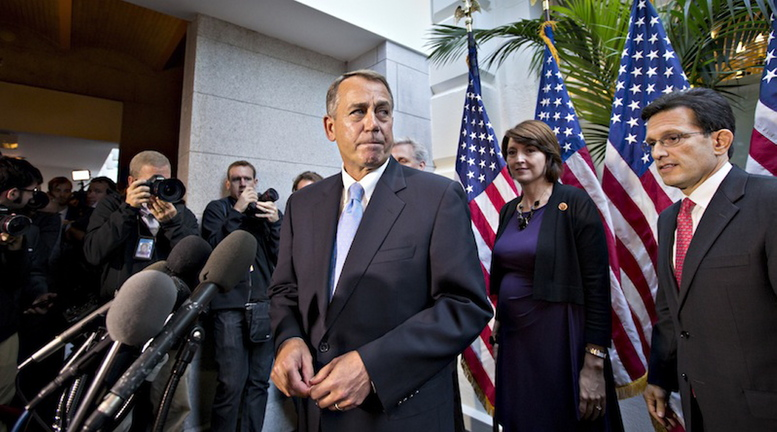 Speaker of the House John Boehner, R-Ohio, with House GOP leaders, speaks with reporters following a Republican strategy session, at the Capitol in Washington, Tuesday, Oct. 15, 2013. House Republican leaders canceled votes Tuesday night on a proposal to reopen federal agencies and lift the debt ceiling, shifting the onus back onto the Senate to finalize a deal to avoid a default that could undermine the U.S. economy and the country's longterm credit.