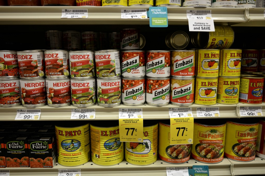 Salsas and other items are seen in the international food aisle of a grocery store Wednesday in Washington.