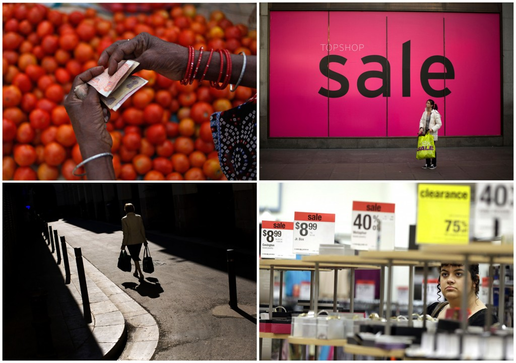 This combination of photos from 2012-2013 shows from top left, a vegetable vendor counting rupees at a market in Allahabad, India, a shopper standing by a sale sign in London, a woman carrying bags with food in Barcelona, and a shopper browsing at a Sears store in Henderson, Nevada. An Associated Press analysis of households in the 10 biggest economies released on Oct. 6, 2013, shows that families continue to spend cautiously in the five years since the U.S. investment bank Lehman Brothers collapsed, triggering a global financial crisis.